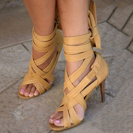 Back Bow Open Stiletto Heel Sandals