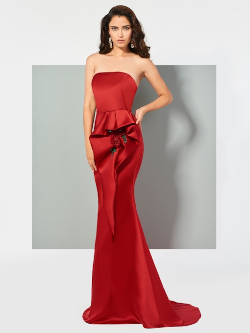Strapless Trumpet Beading Ruffles Brush Train Evening Dress