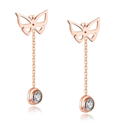 Butterfly Shaped Pendant Drop Tassel Earrings
