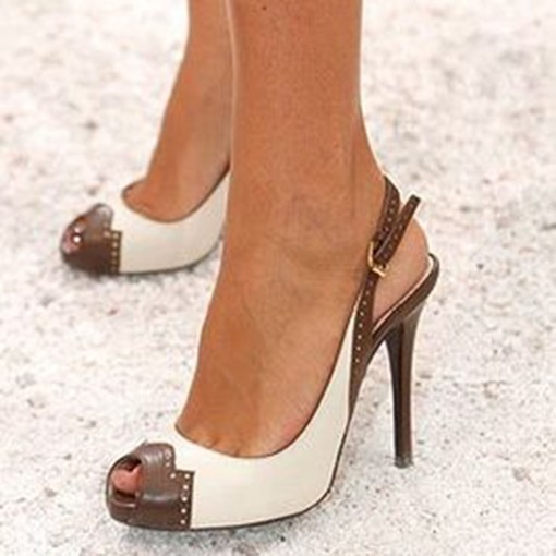 Color Block Peep Toe Heel Sandals