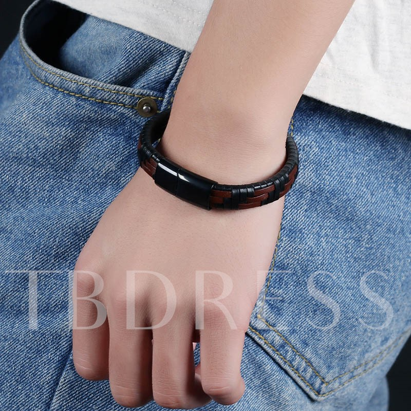Image of Black And Brown Woven Mens Bracelet