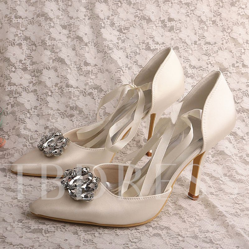 Image of Decorative Rhinestone Pointed Heel Womens Prom Shoes