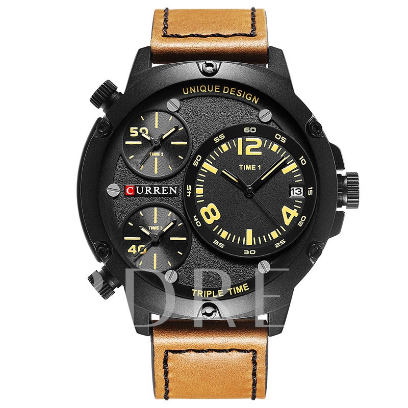 Three Time Zone Quartz Men's Sports Watch