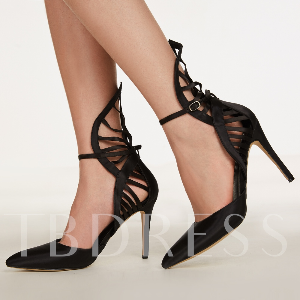 Pointed Toe Plain Hollow Stiletto Heel Buckle Women's Sandals
