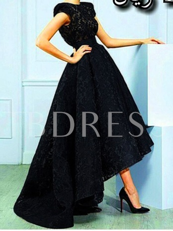 A-Line Jewel Neck Lace High Low Evening Dress