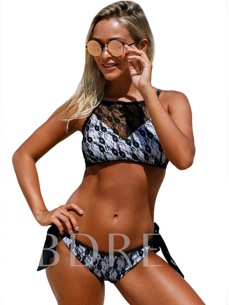 Lace-Up Patchwork Adjustable Strap Bowknot Women's Tankini Set
