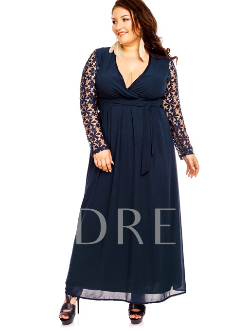 Hollow Patchwork Lace A-Line Women's Maxi Dress