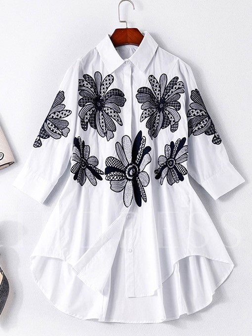 Button Up Lapel Flower Print Women's Shirt
