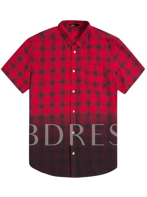 Plus-Size Plaid Printed Gradient Loose Men's Short Shirt