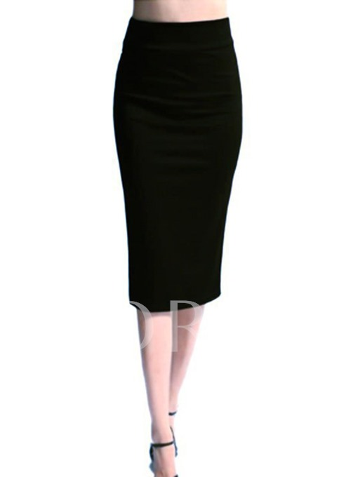 High Waist Plain Patchwork Women's Pencil Skirt