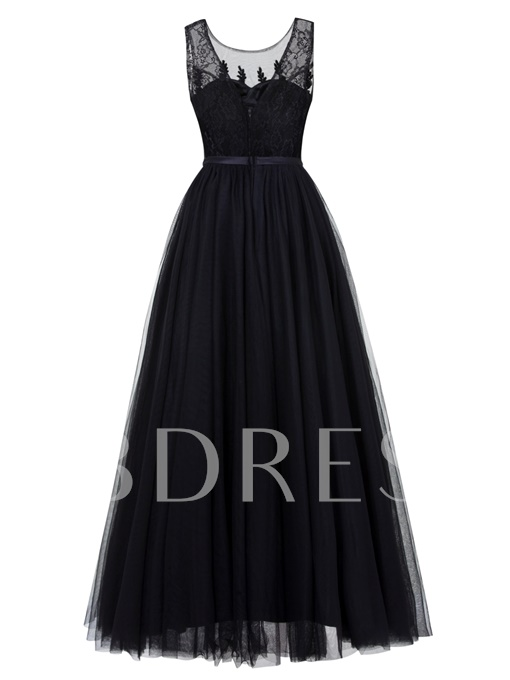 Straps Appliuqes Beading Tulle Long Evening Dress