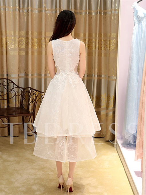 A-Line Appliques Sleeveless Round Neck Tea-Length Prom Dress