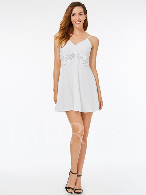 White Slip Ruffle Women's Sexy Dress