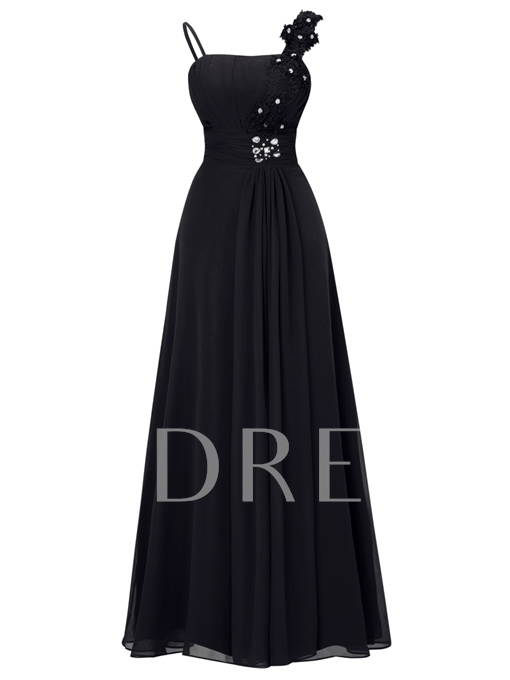 Straps High Waist Appliques Beading Evening Dress