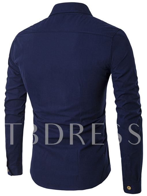 Oblique Double-Breasted Men's Straight Shirt