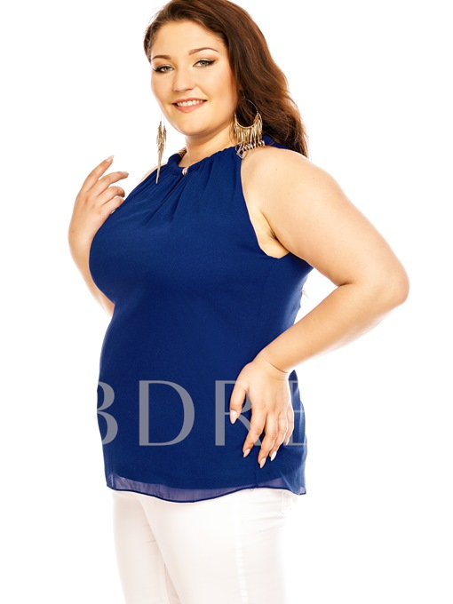 Halter Neck Plus Size Women's Blouse