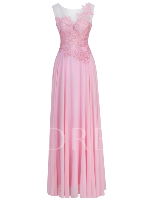 Scoop Neckline Appliques Lace-Up A-Line Evening Dress