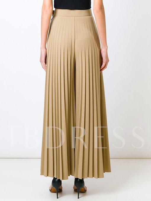 Light Apricot High-Waist Pleated Wide Legs Women's Pants