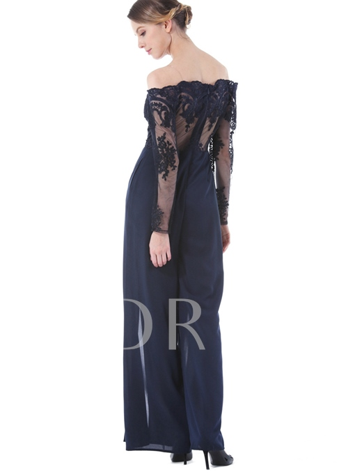 Boat Neck Lace Embroidery Pleated Slim Women's Jumpsuit