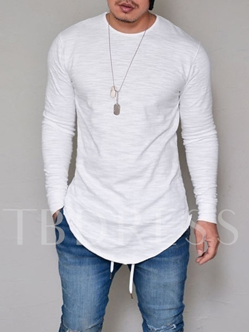 Round Collar Long Pattern Solid Color Plain Men's Long Sleeve T-Shirt