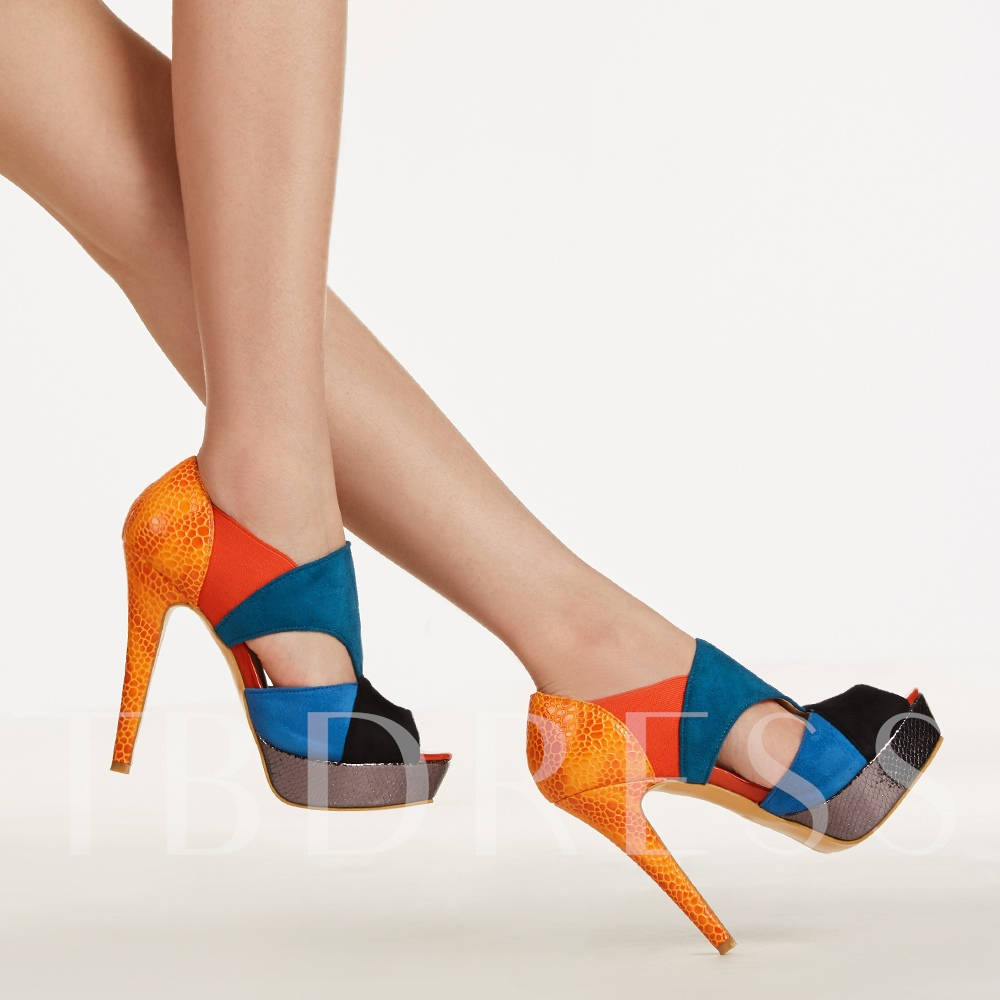 Peep Toe Color Block Stiletto Heel Sandals