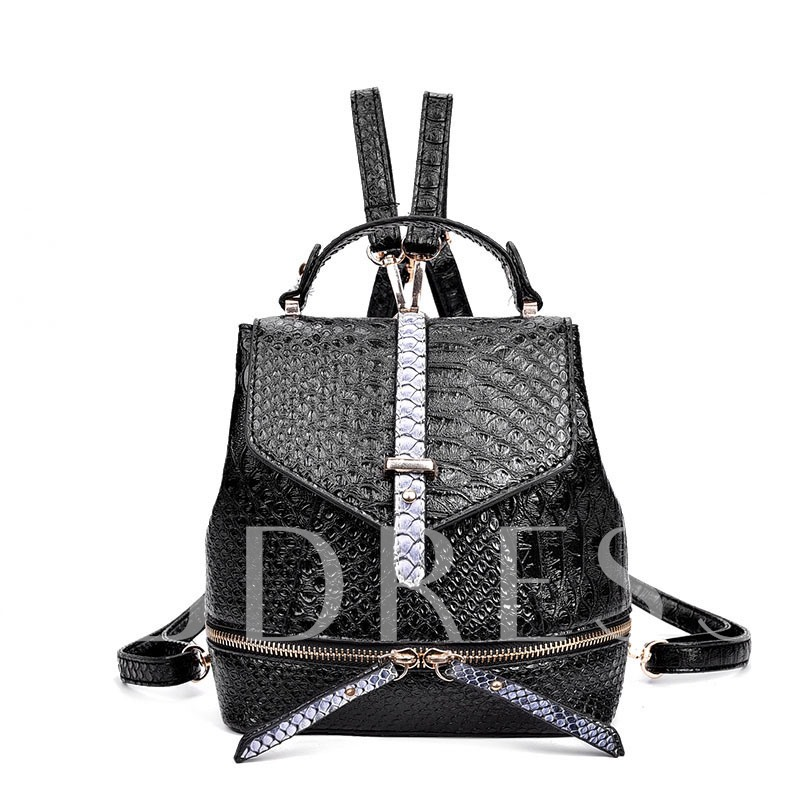 All-match Crocodile Grain Embossed Backpack