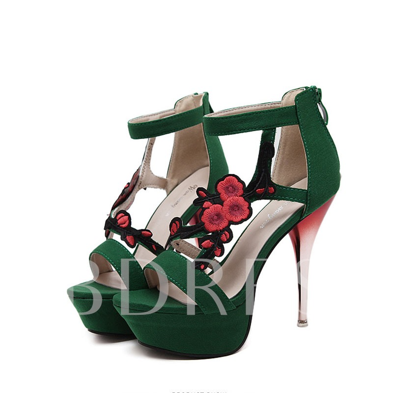 3D Floral Stiletto Heel Women's Sandals