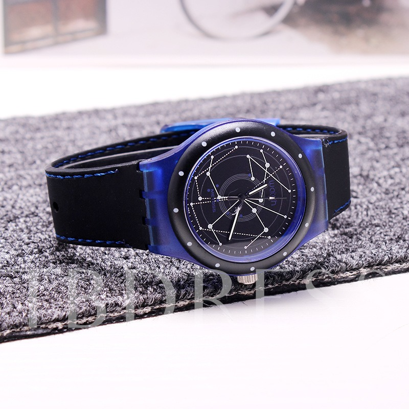 Constellation Pattern Silicone Quartz Men's Watches