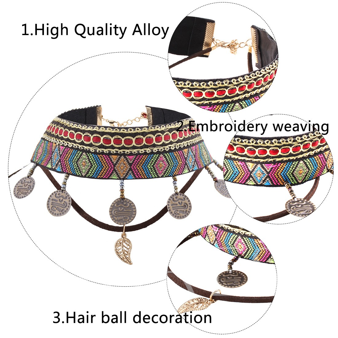 Ethnic Embroidery Seed Bead Hair Ball Decoration Necklace