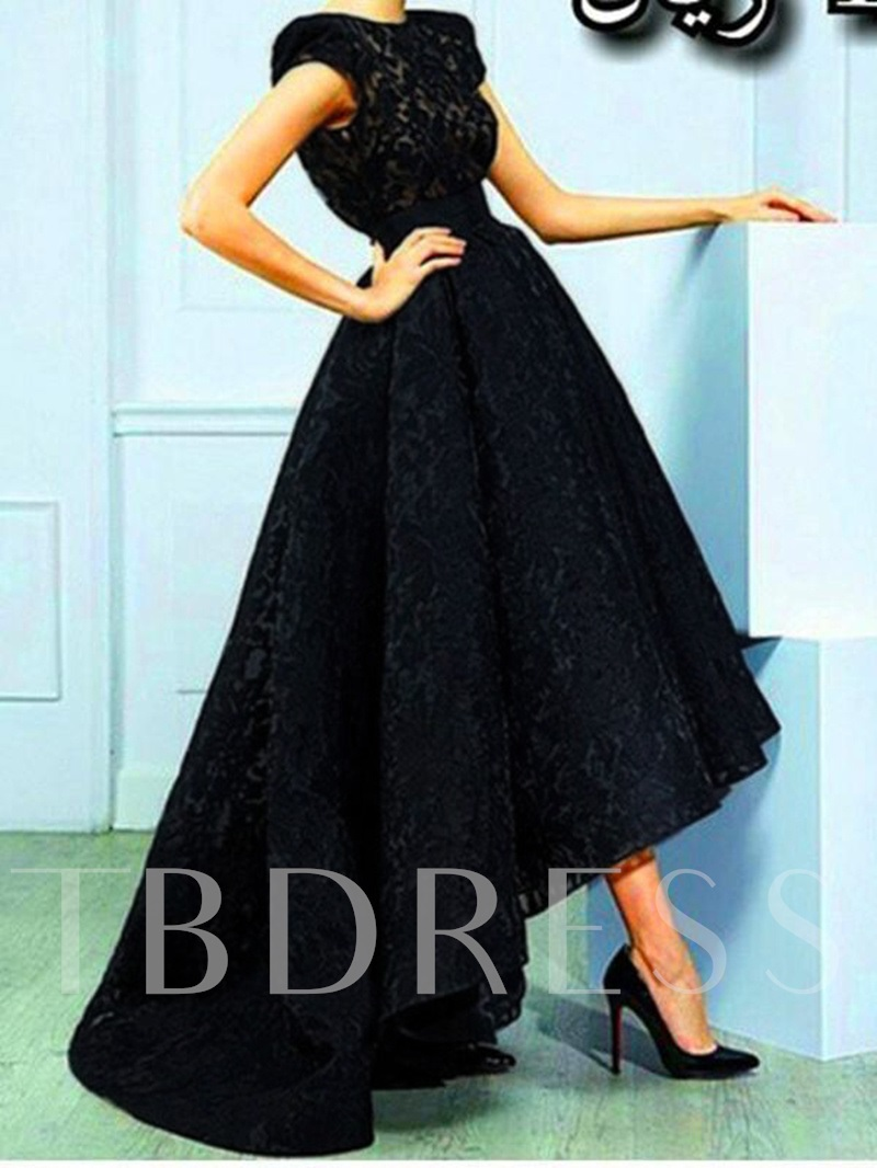A-Line Jewel Lace High Low Evening Dress