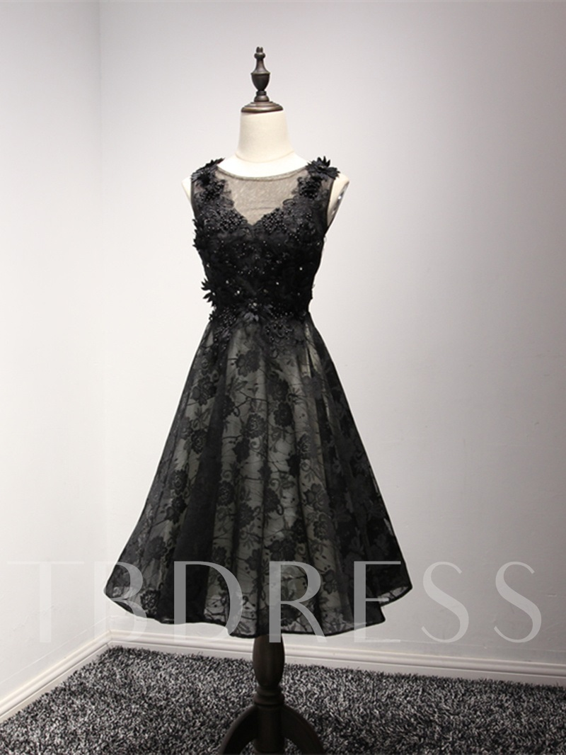 5b0fcd5f70ed Beaded Scoop A-Line Lace Sleeveless Knee-Length Homecoming Dress. Sold Out