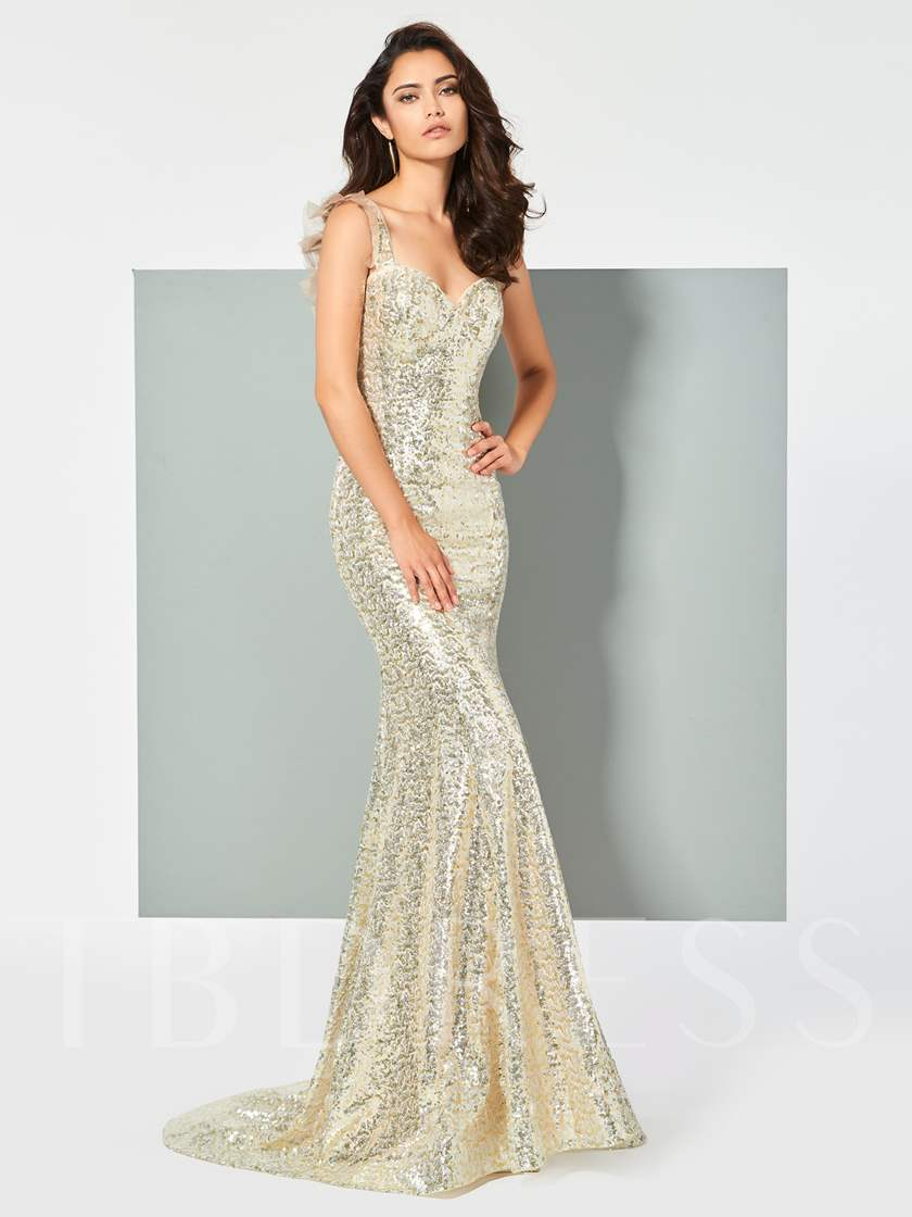Straps Mermaid Lace Sequins Sweep Train Prom Dress