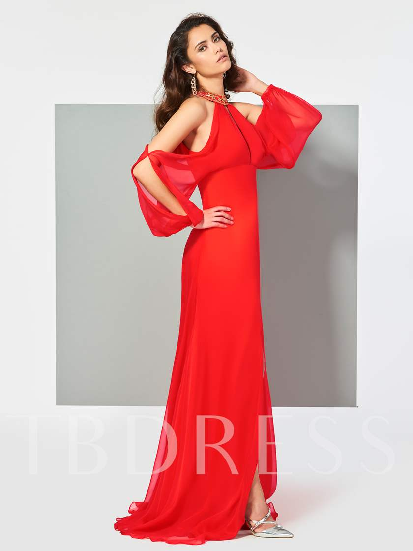 Jewel Long Sleeves Beading A-Line Split-Front Floor-Length Evening Dress