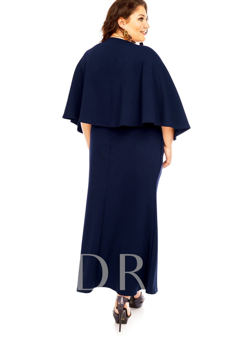 Plus Size Batwing Sleeve High-Waist Women's Maxi Dress