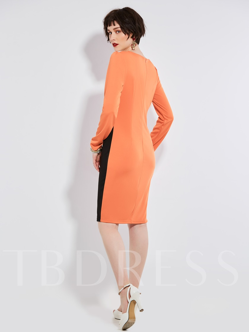 Sheath Polyester Color Block Women's Bodycon Dress