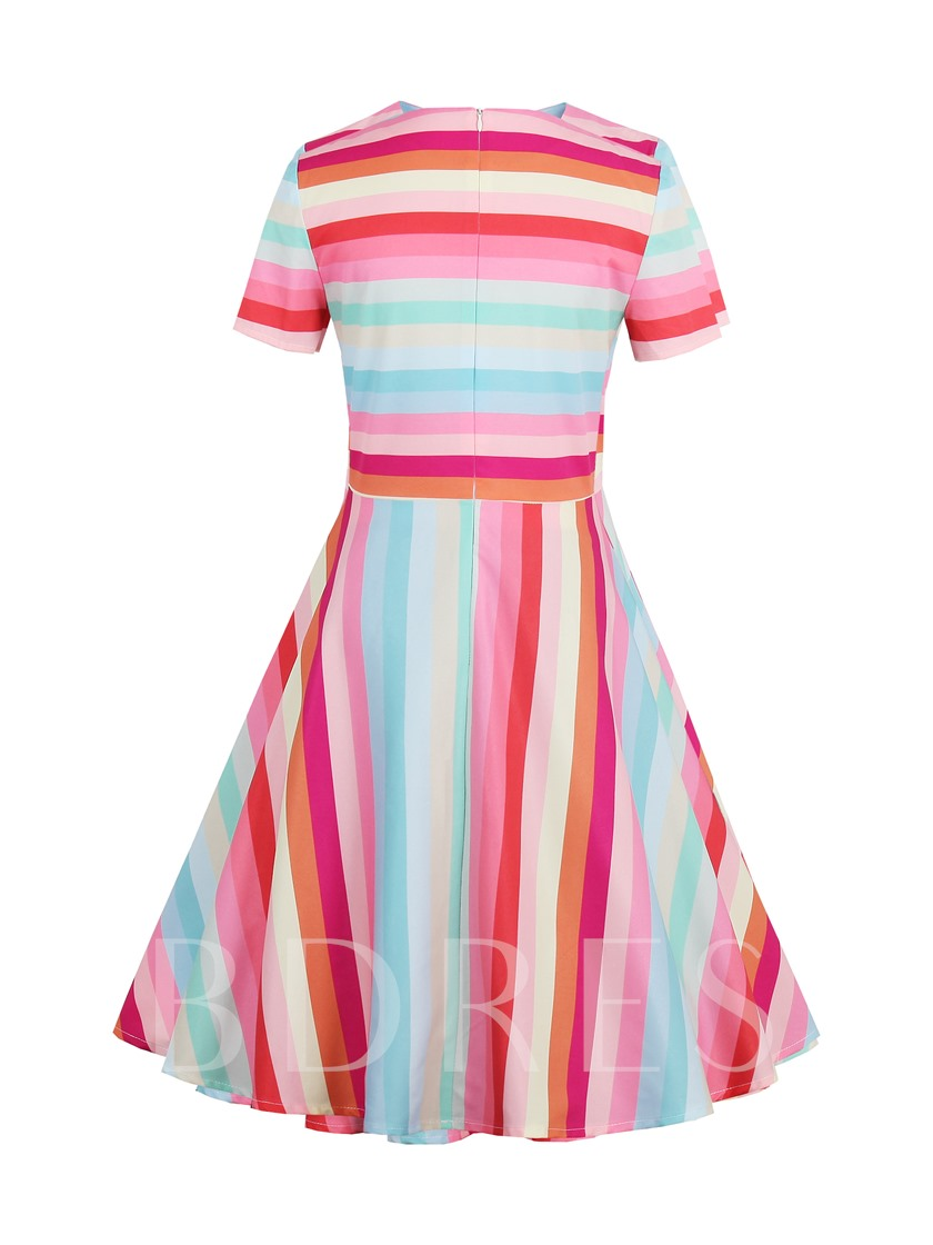 Stripes Short Sleeve Women's Skater Dress