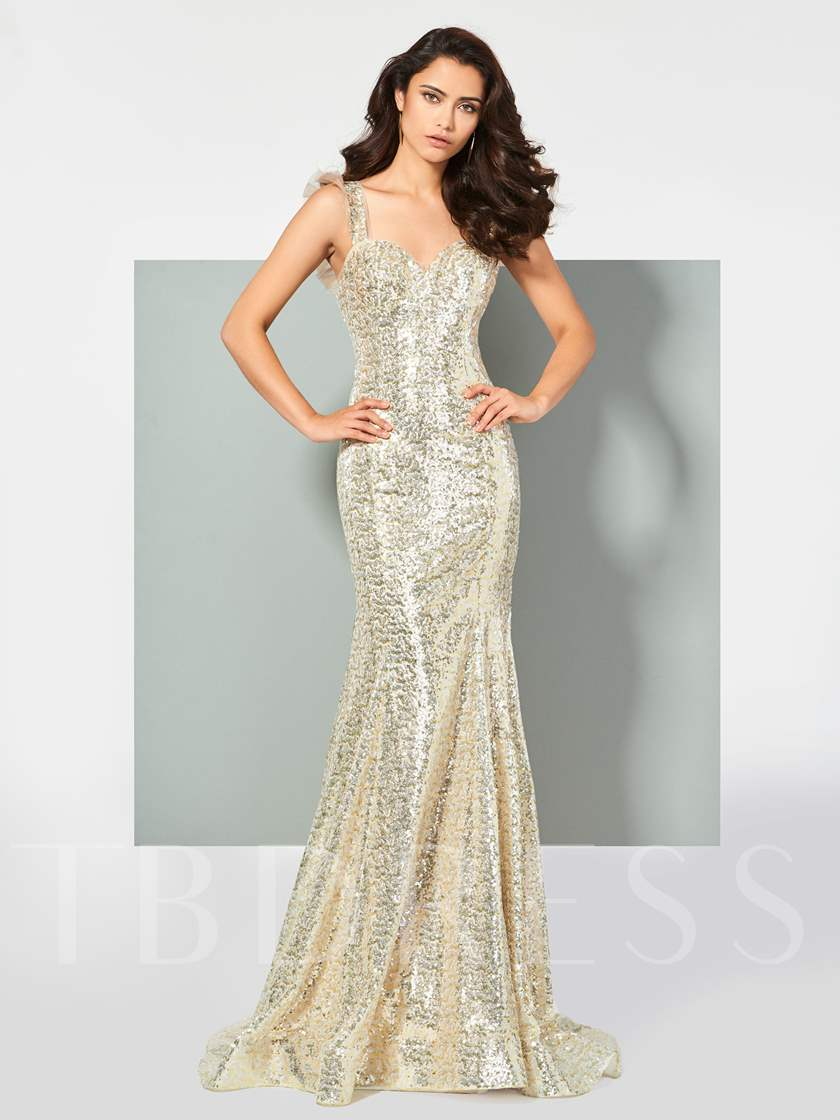 Reflective Dress Straps Mermaid Lace Sequins Prom Dress