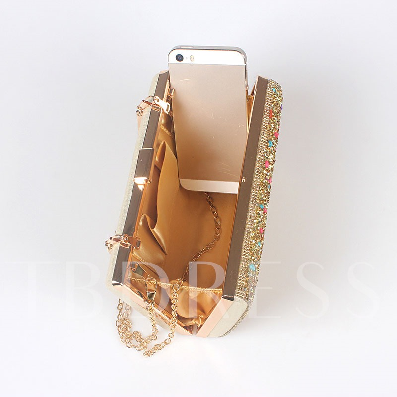 Shining Colorful Stone Encrusted Design Clutch