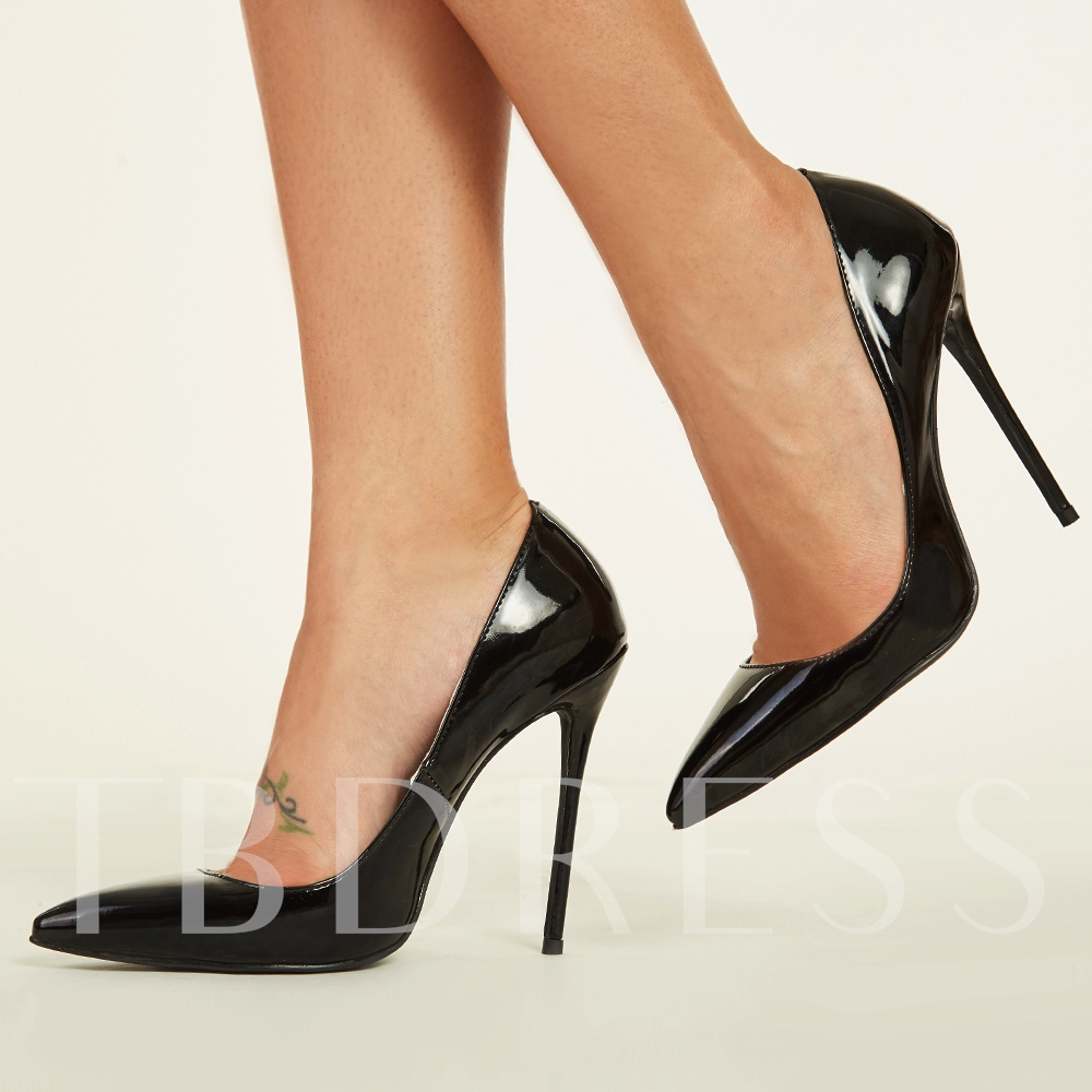 Black Pointed Stiletto Heel Women's Pumps