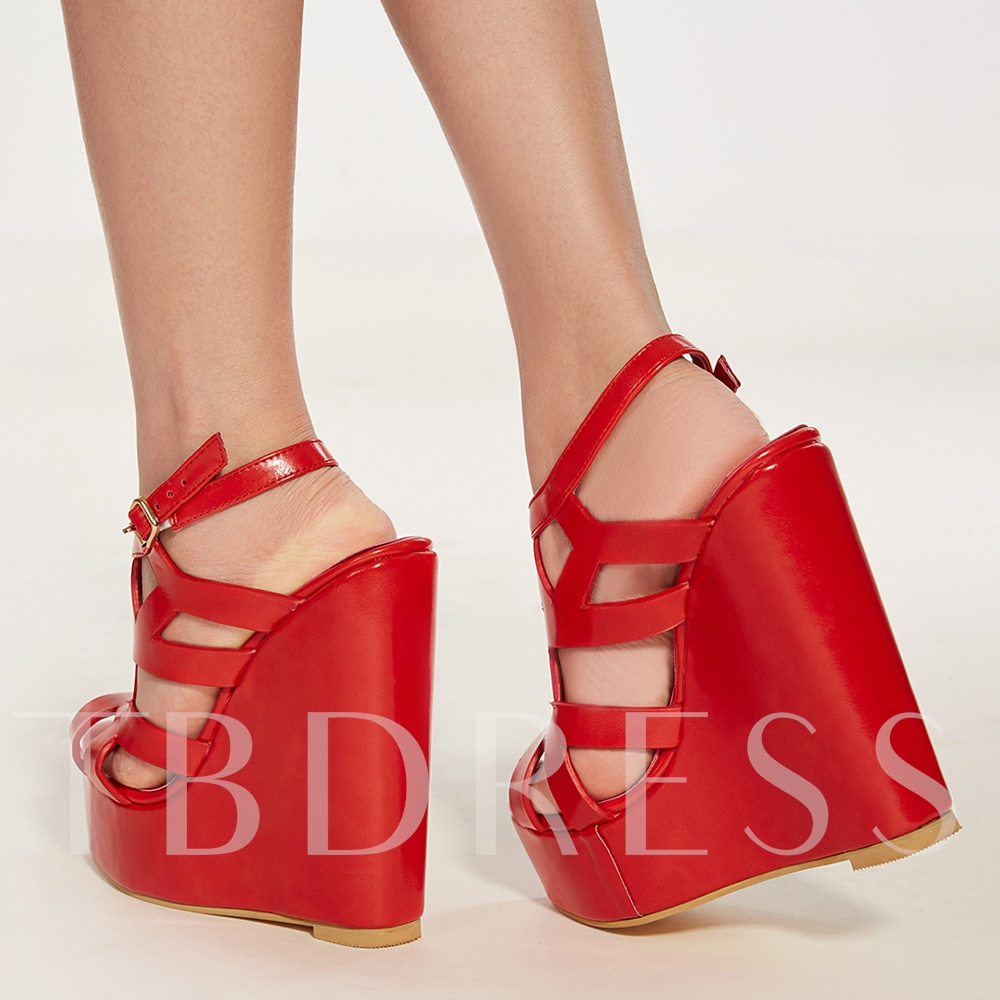 Cut Off Platform Red Biege Women's Sandals