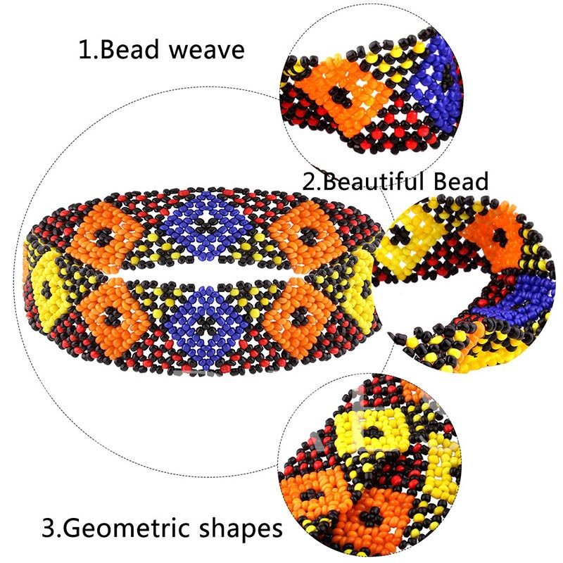 Geometric Contrast-Color Beads Inlaid Choker Necklace