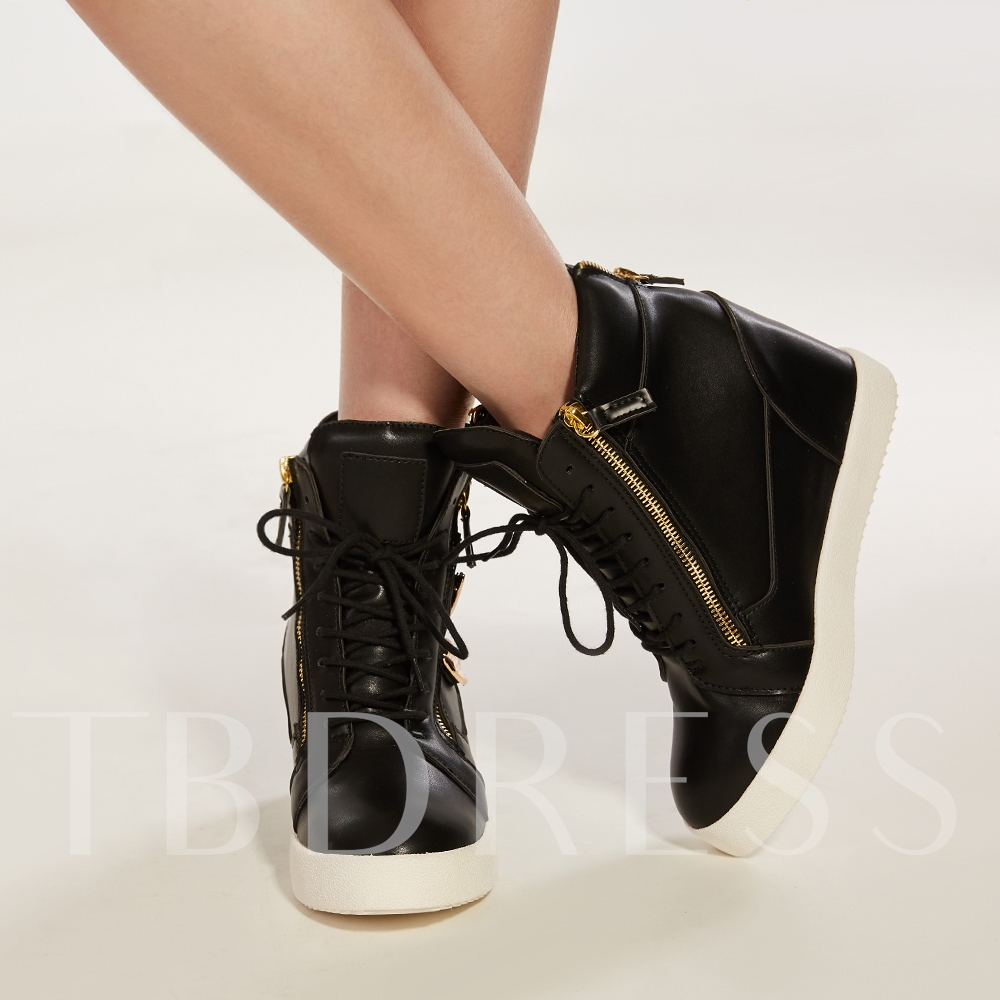 Round Toe Side Zipper Wedge High Heel Lace-Up Women's Sneakers