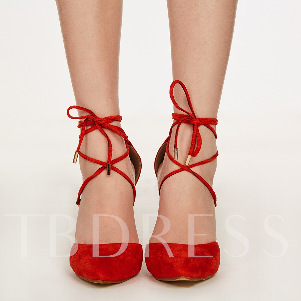 Pointed Toe Lace-Up Suede Plain Women's Sandals