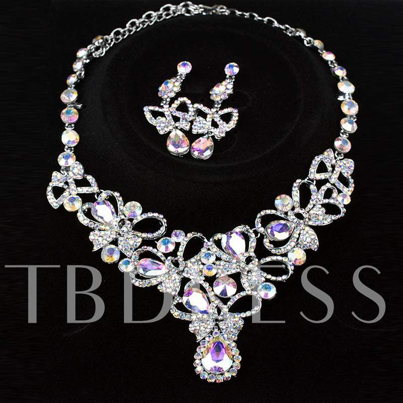 Butterfly-Floral Shaped Diamante Choker Necklace
