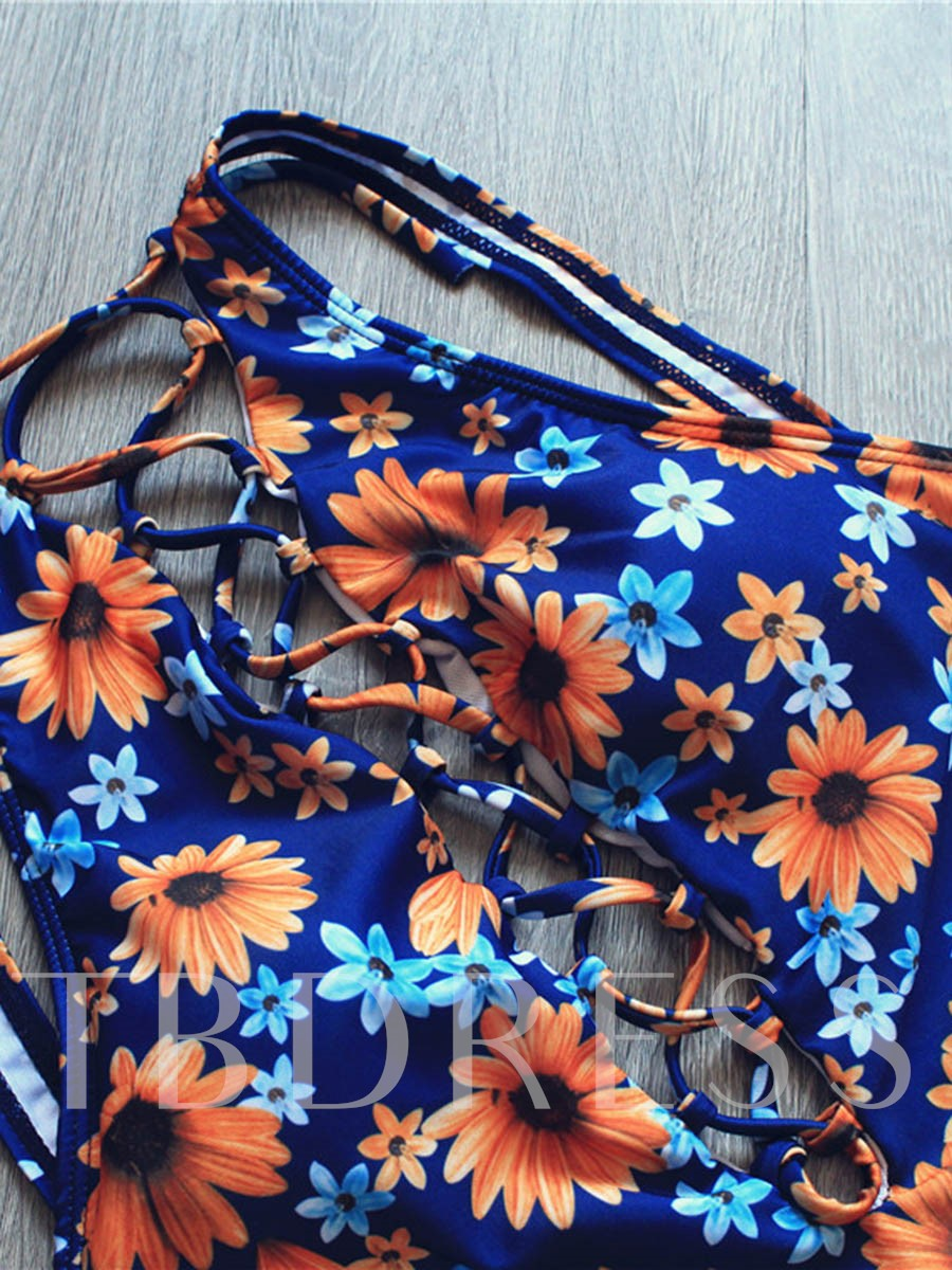 Sunflower Print Hollow Backless One Piece Swimsuit