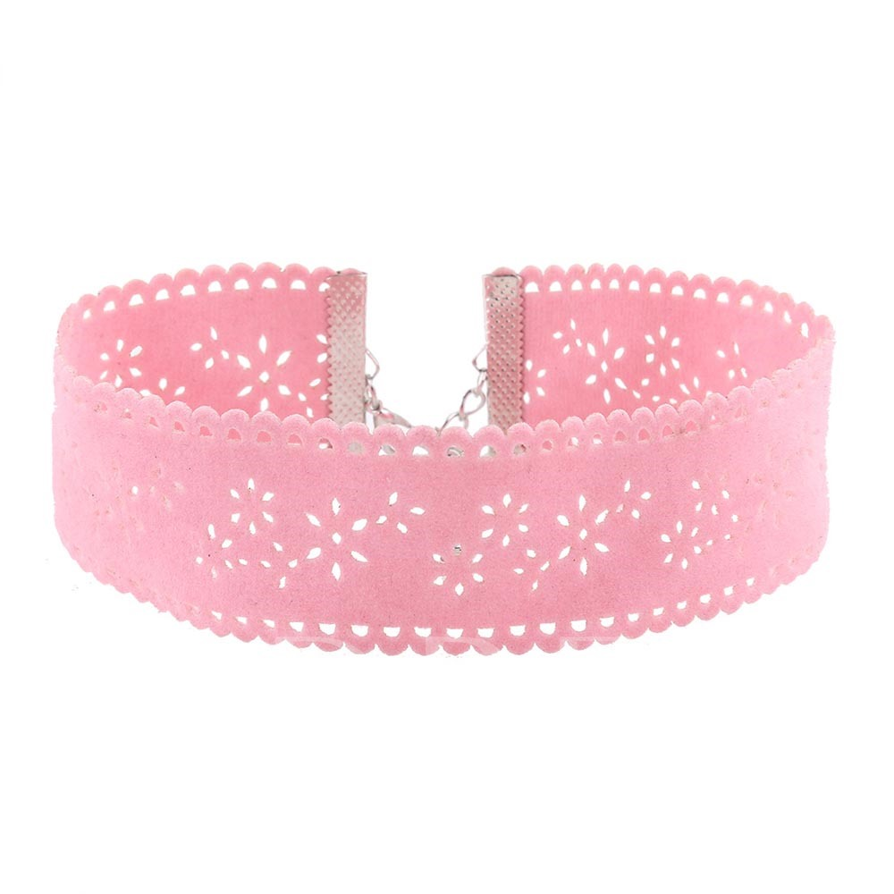 Pink Rhinestone Lace Artificial Leather Velvet Alloy Necklace