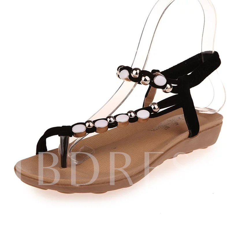 Buy Thong Beads Elastic Band Suede Plain Women's Flat Sandals, Summer, 12867516 for $8.99 in TBDress store