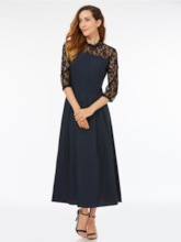 Black Mid-Calf Three-Quarter Sleeve Women's Lace Dress