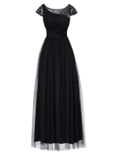 Cap Sleeves Pleats Lace Evening Dress