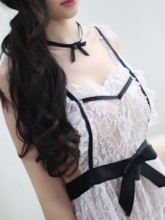 Cute Cross Strap Color Block Maid Costume